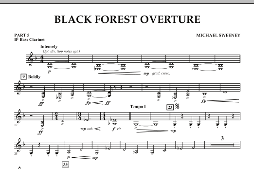 Michael Sweeney Black Forest Overture - Pt.5 - Bb Bass Clarinet sheet music notes and chords. Download Printable PDF.