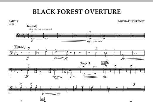 Michael Sweeney Black Forest Overture - Pt.5 - Cello sheet music notes and chords. Download Printable PDF.