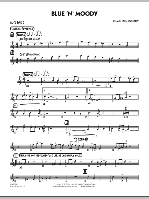 Michael Sweeney Blue 'N' Moody - Alto Sax 2 sheet music notes and chords. Download Printable PDF.