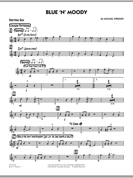 Michael Sweeney Blue 'N' Moody - Baritone Sax sheet music notes and chords. Download Printable PDF.