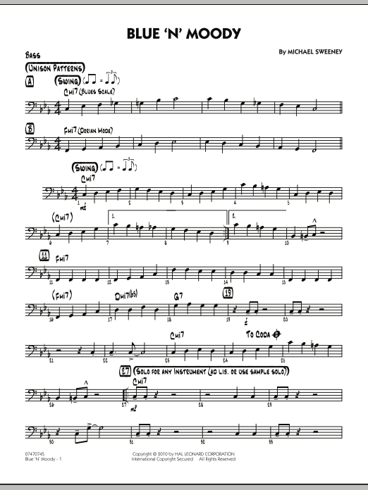 Michael Sweeney Blue 'N' Moody - Bass sheet music notes and chords. Download Printable PDF.