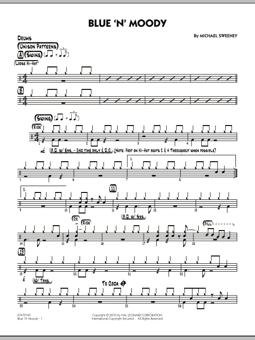 Michael Sweeney Blue 'N' Moody - Drums sheet music notes and chords. Download Printable PDF.