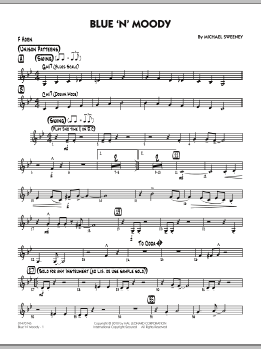 Michael Sweeney Blue 'N' Moody - F Horn sheet music notes and chords. Download Printable PDF.