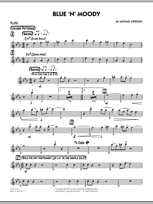 Michael Sweeney Blue 'N' Moody - Flute sheet music notes and chords. Download Printable PDF.