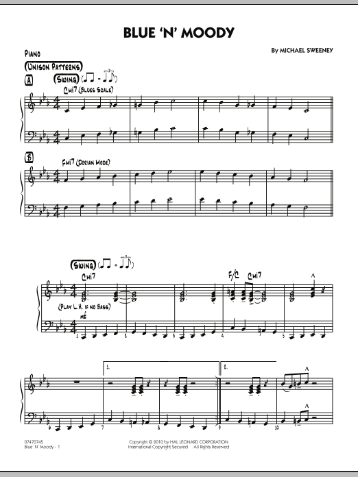 Michael Sweeney Blue 'N' Moody - Piano sheet music notes and chords. Download Printable PDF.