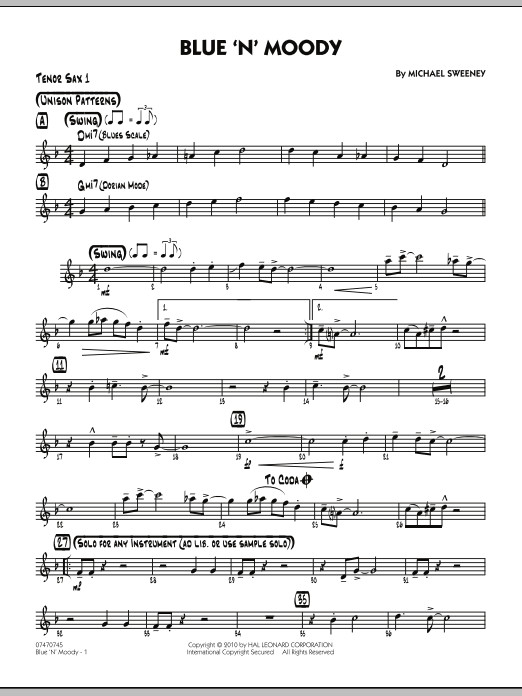 Michael Sweeney Blue 'N' Moody - Tenor Sax 1 sheet music notes and chords. Download Printable PDF.