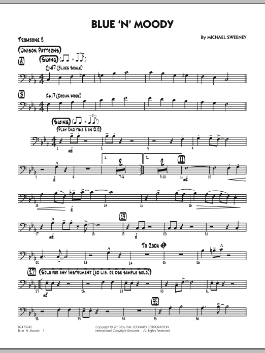 Michael Sweeney Blue 'N' Moody - Trombone 2 sheet music notes and chords. Download Printable PDF.
