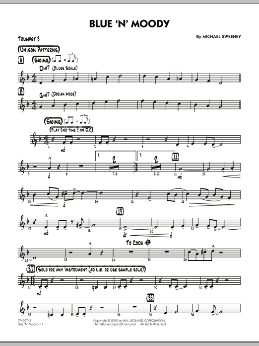 Michael Sweeney Blue 'N' Moody - Trumpet 3 sheet music notes and chords. Download Printable PDF.