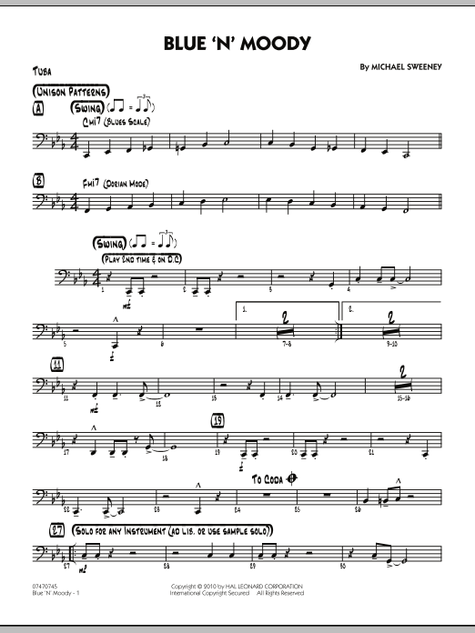 Michael Sweeney Blue 'N' Moody - Tuba sheet music notes and chords. Download Printable PDF.