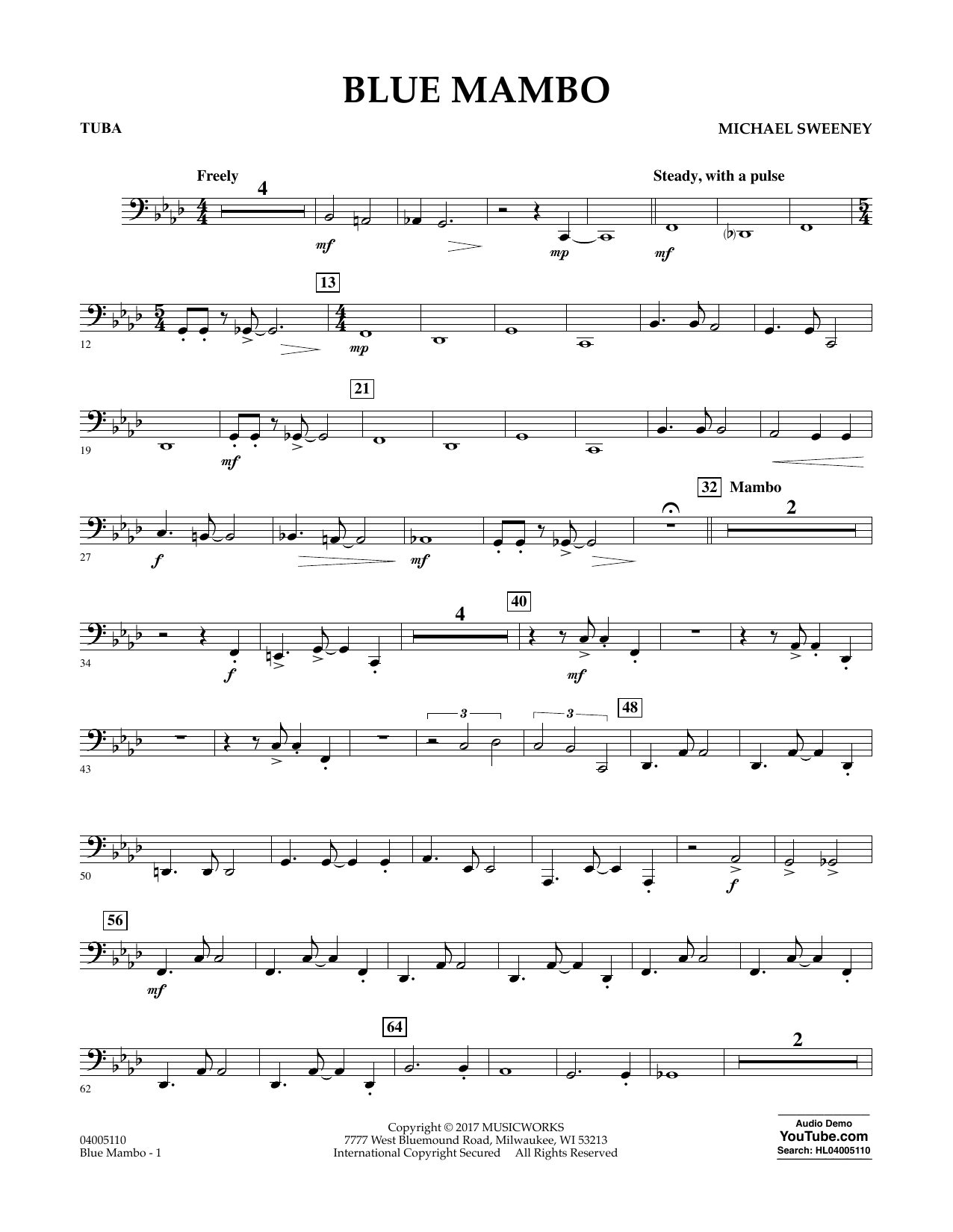 Michael Sweeney Blue Mambo - Tuba sheet music notes and chords. Download Printable PDF.