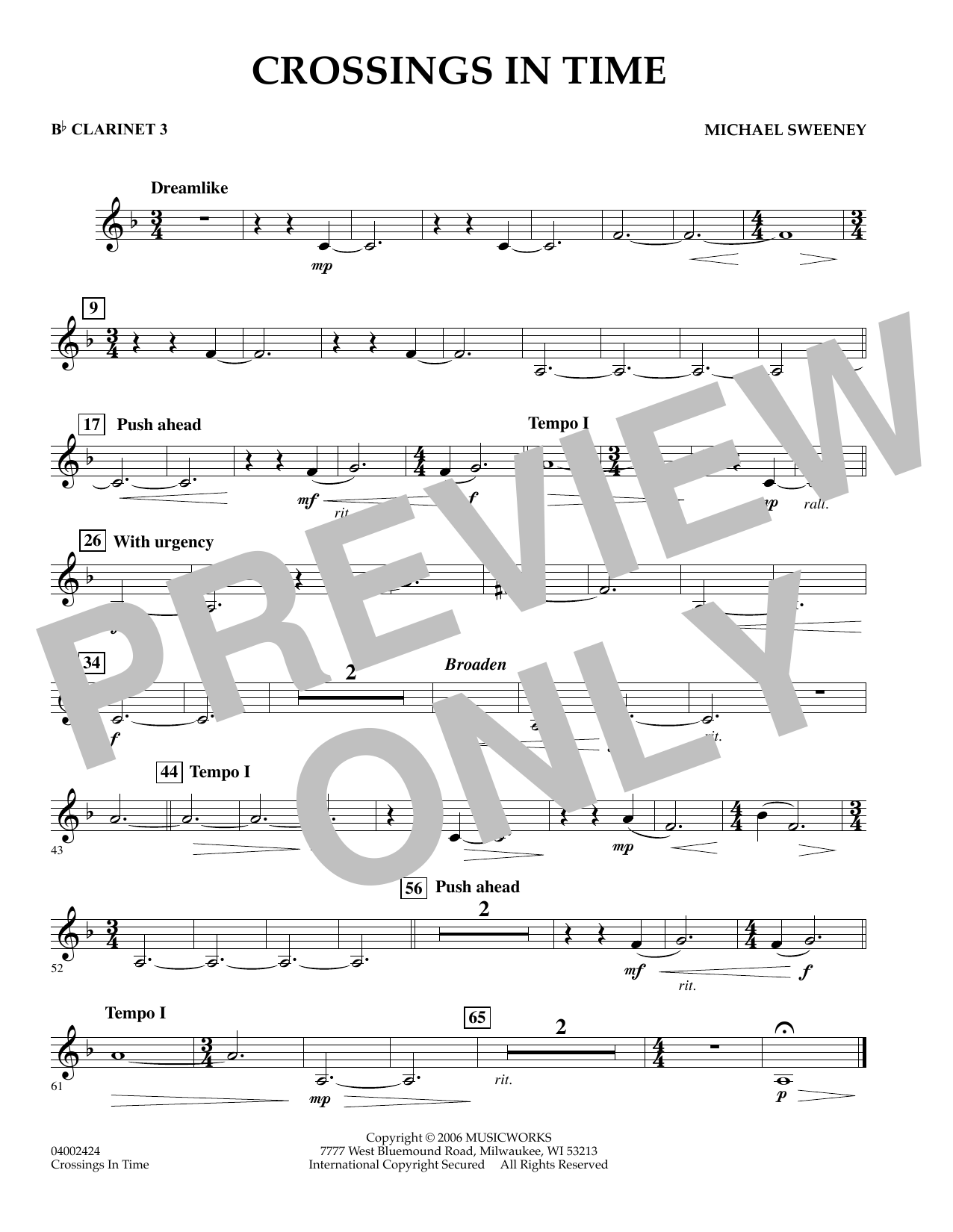 Michael Sweeney Crossings In Time - Bb Clarinet 3 sheet music notes and chords. Download Printable PDF.