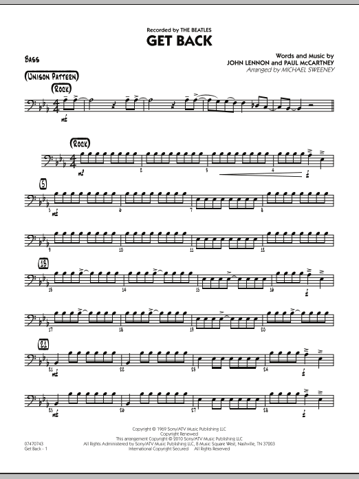 Michael Sweeney Get Back - Bass sheet music notes and chords. Download Printable PDF.