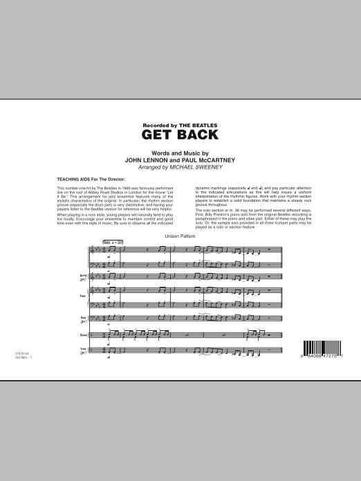 Michael Sweeney Get Back - Full Score sheet music notes and chords. Download Printable PDF.