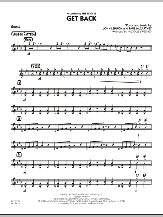 Michael Sweeney Get Back - Guitar sheet music notes and chords. Download Printable PDF.