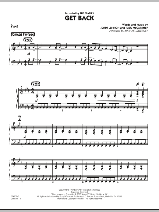 Michael Sweeney Get Back - Piano sheet music notes and chords. Download Printable PDF.