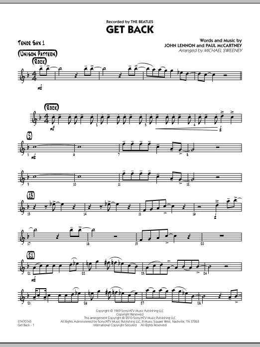 Michael Sweeney Get Back - Tenor Sax 1 sheet music notes and chords. Download Printable PDF.