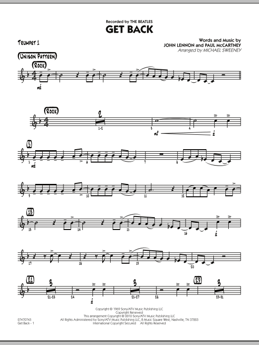 Michael Sweeney Get Back - Trumpet 1 sheet music notes and chords. Download Printable PDF.