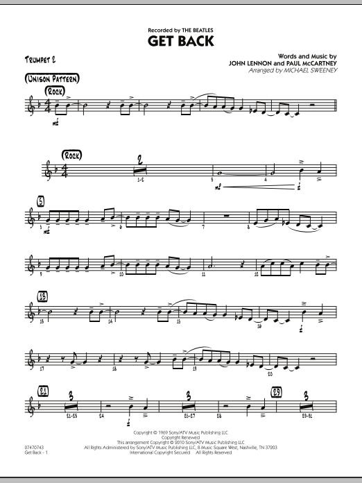 Michael Sweeney Get Back - Trumpet 2 sheet music notes and chords. Download Printable PDF.