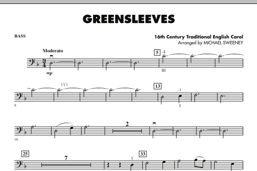 Michael Sweeney Greensleeves - String Bass sheet music notes and chords