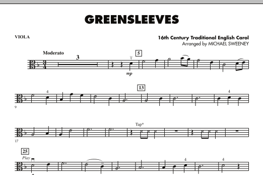 Michael Sweeney Greensleeves - Viola sheet music notes and chords