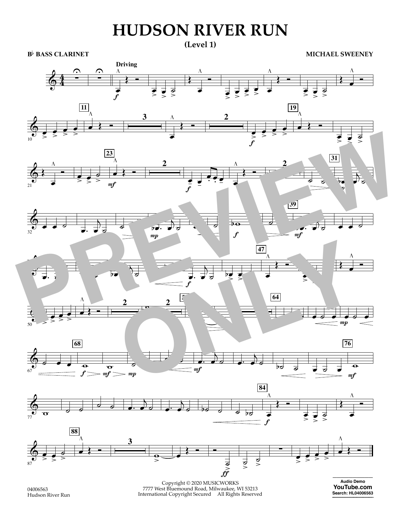 Michael Sweeney Hudson River Run - Bb Bass Clarinet (Level 1) sheet music notes and chords. Download Printable PDF.
