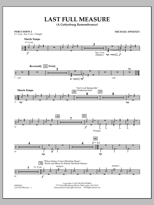 Michael Sweeney Last Full Measure (A Gettysburg Remembrance) - Percussion 2 sheet music notes and chords. Download Printable PDF.