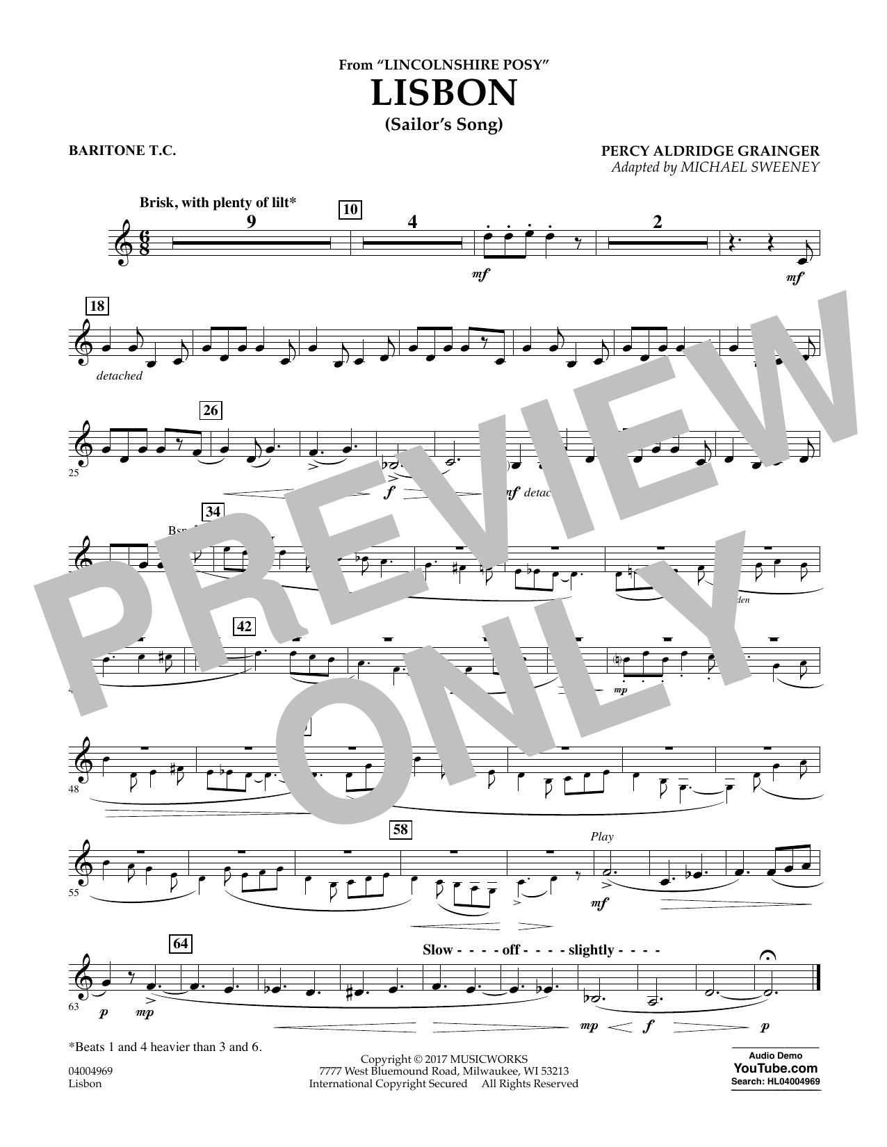 Michael Sweeney Lisbon (from Lincolnshire Posy) - Baritone T.C. sheet music notes and chords. Download Printable PDF.