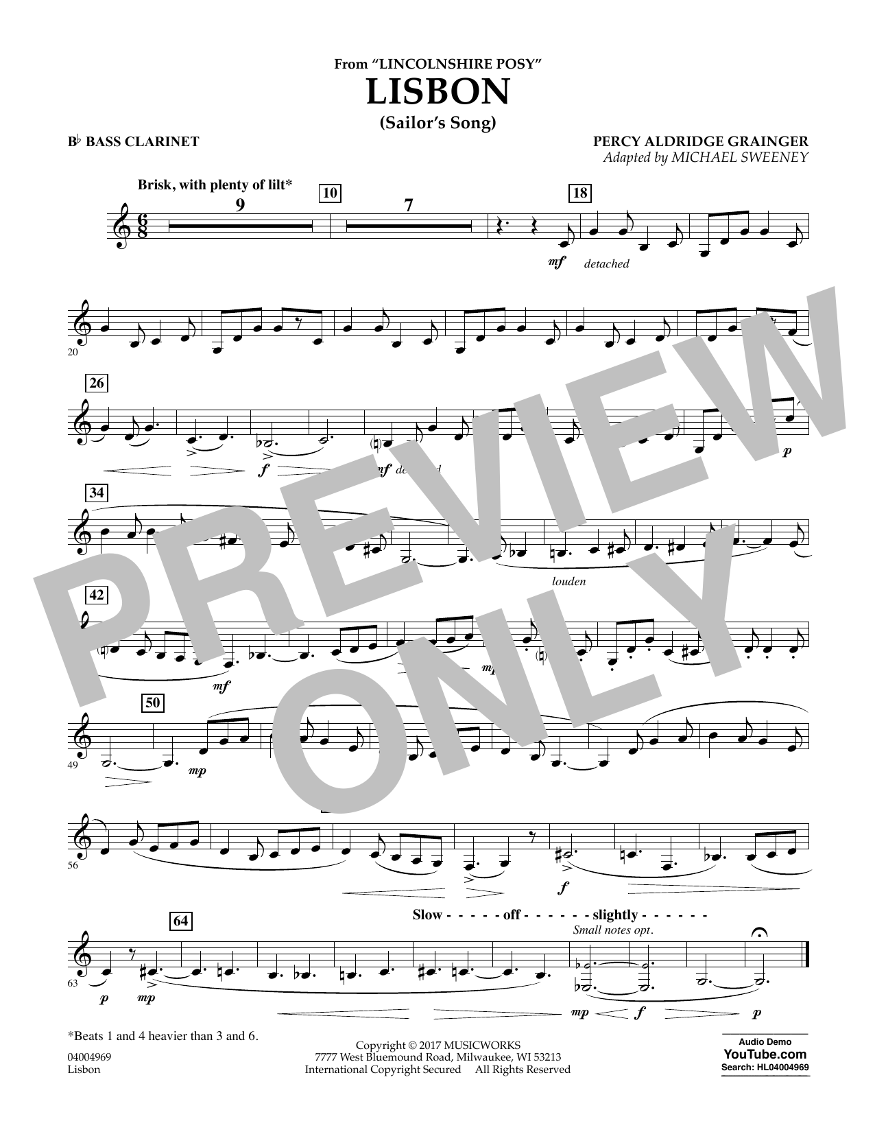 Michael Sweeney Lisbon (from Lincolnshire Posy) - Bb Bass Clarinet sheet music notes and chords. Download Printable PDF.