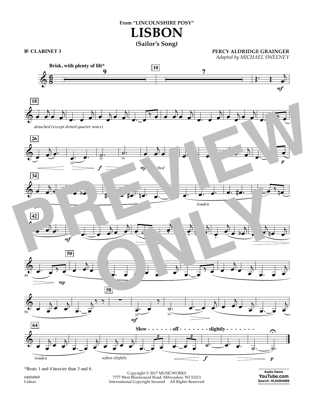 Michael Sweeney Lisbon (from Lincolnshire Posy) - Bb Clarinet 3 sheet music notes and chords. Download Printable PDF.
