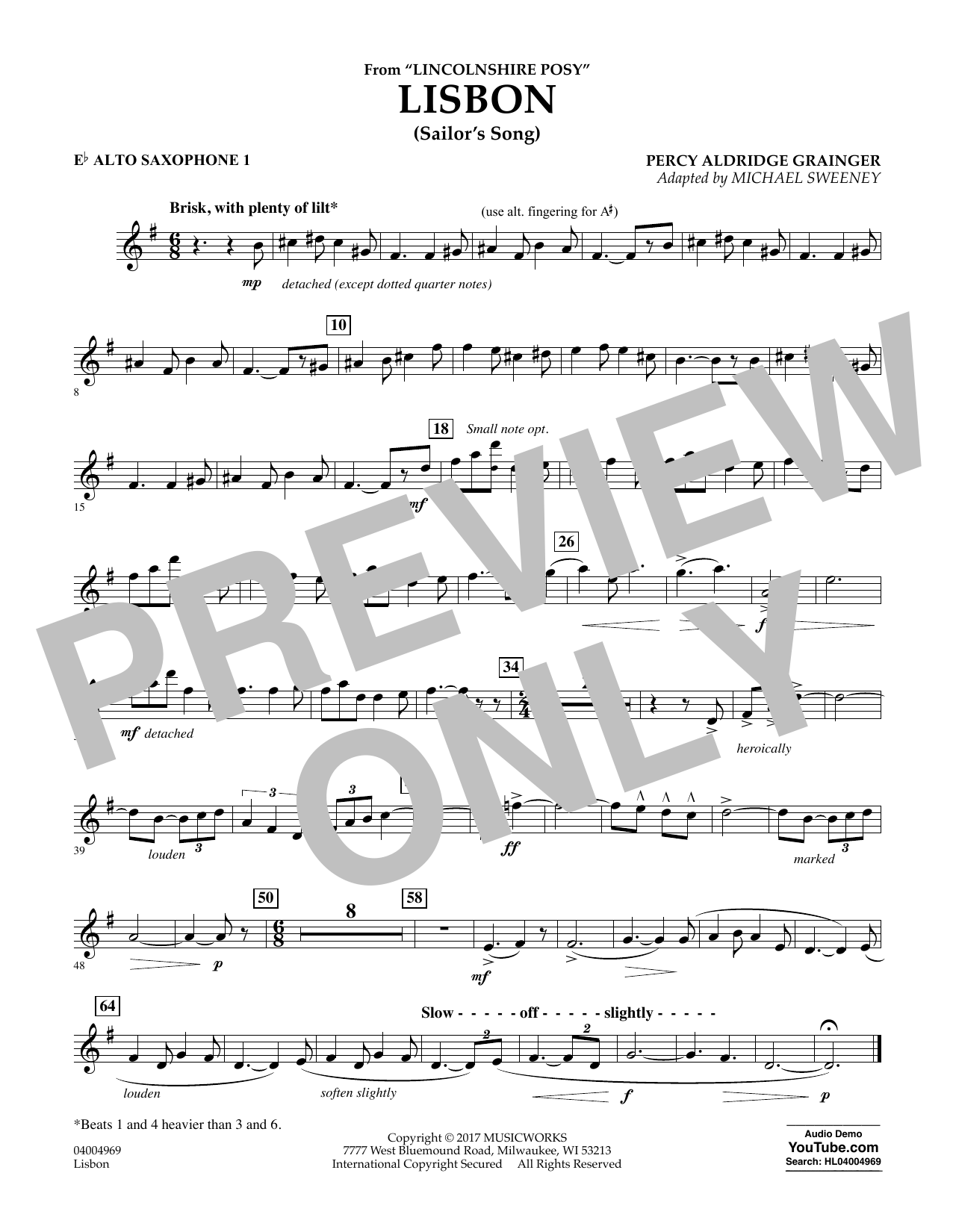 Michael Sweeney Lisbon (from Lincolnshire Posy) - Eb Alto Saxophone 1 sheet music notes and chords. Download Printable PDF.