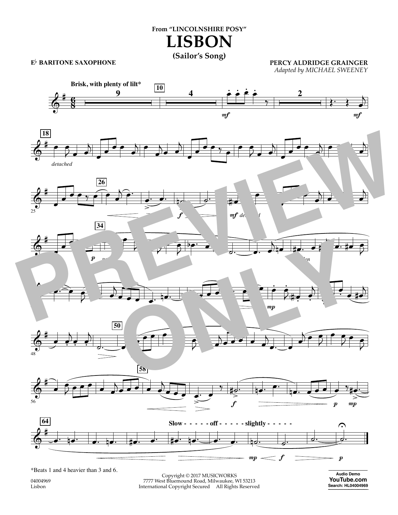 Michael Sweeney Lisbon (from Lincolnshire Posy) - Eb Baritone Saxophone sheet music notes and chords. Download Printable PDF.
