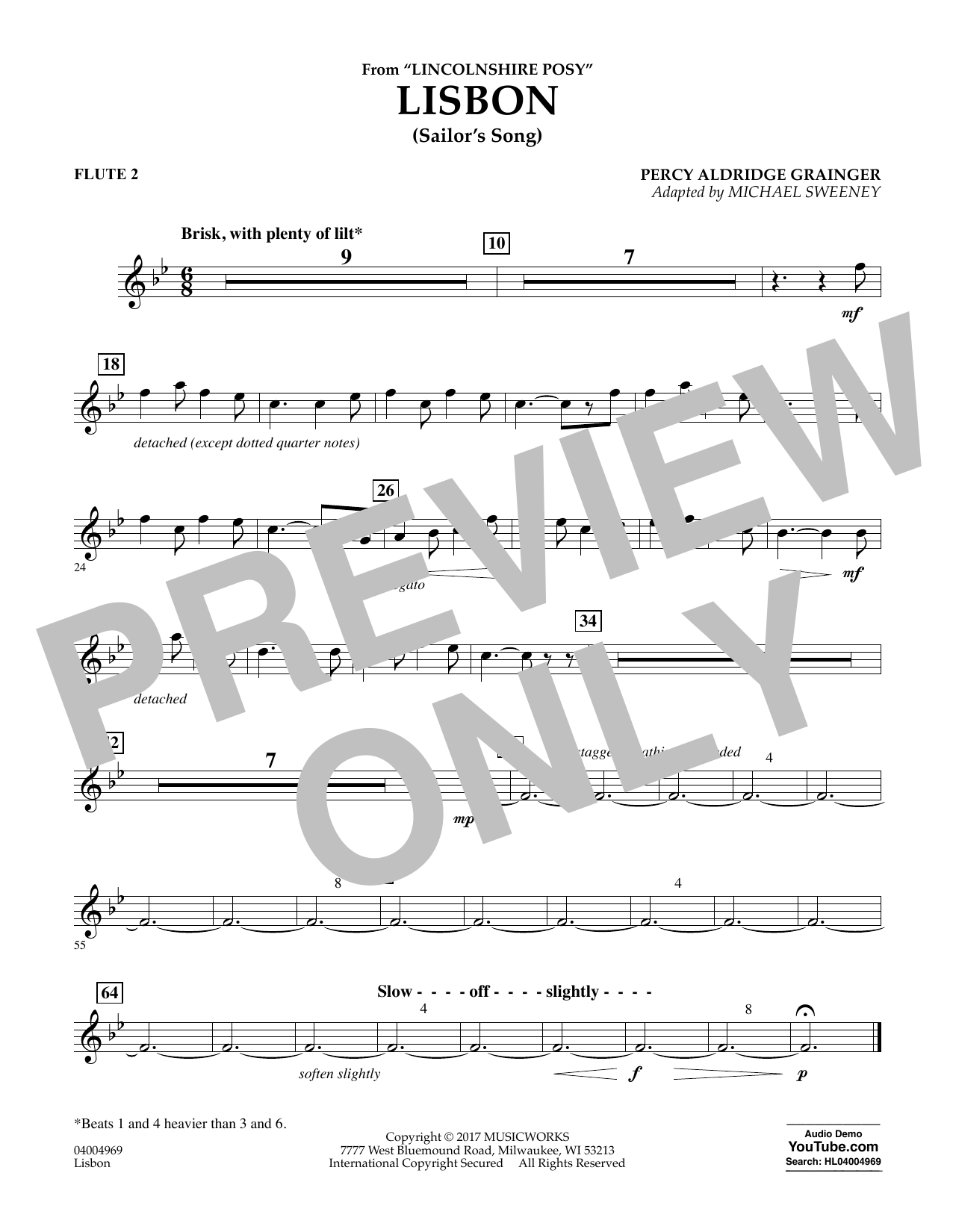 Michael Sweeney Lisbon (from Lincolnshire Posy) - Flute 2 sheet music notes and chords. Download Printable PDF.