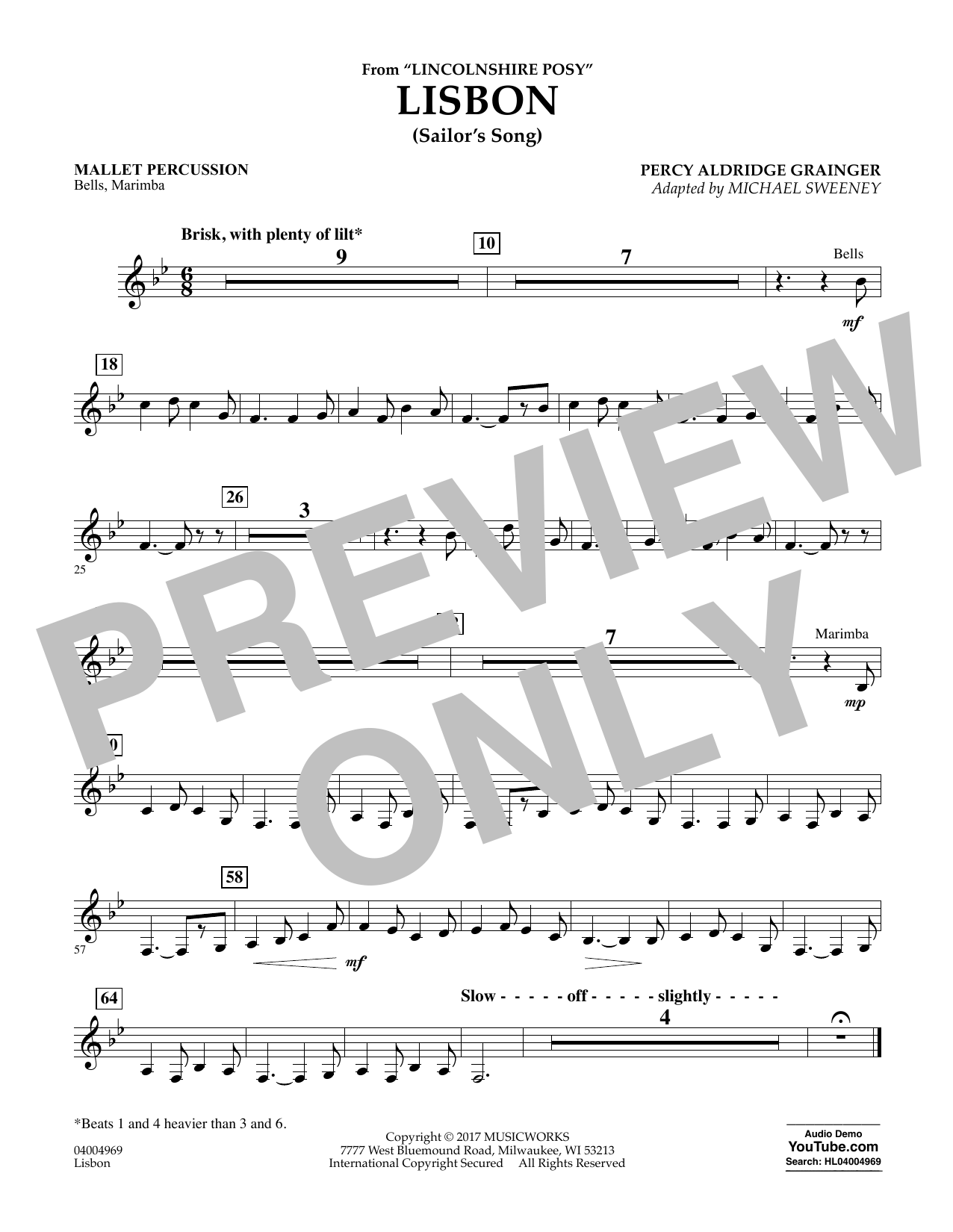 Michael Sweeney Lisbon (from Lincolnshire Posy) - Mallet Percussion sheet music notes and chords. Download Printable PDF.