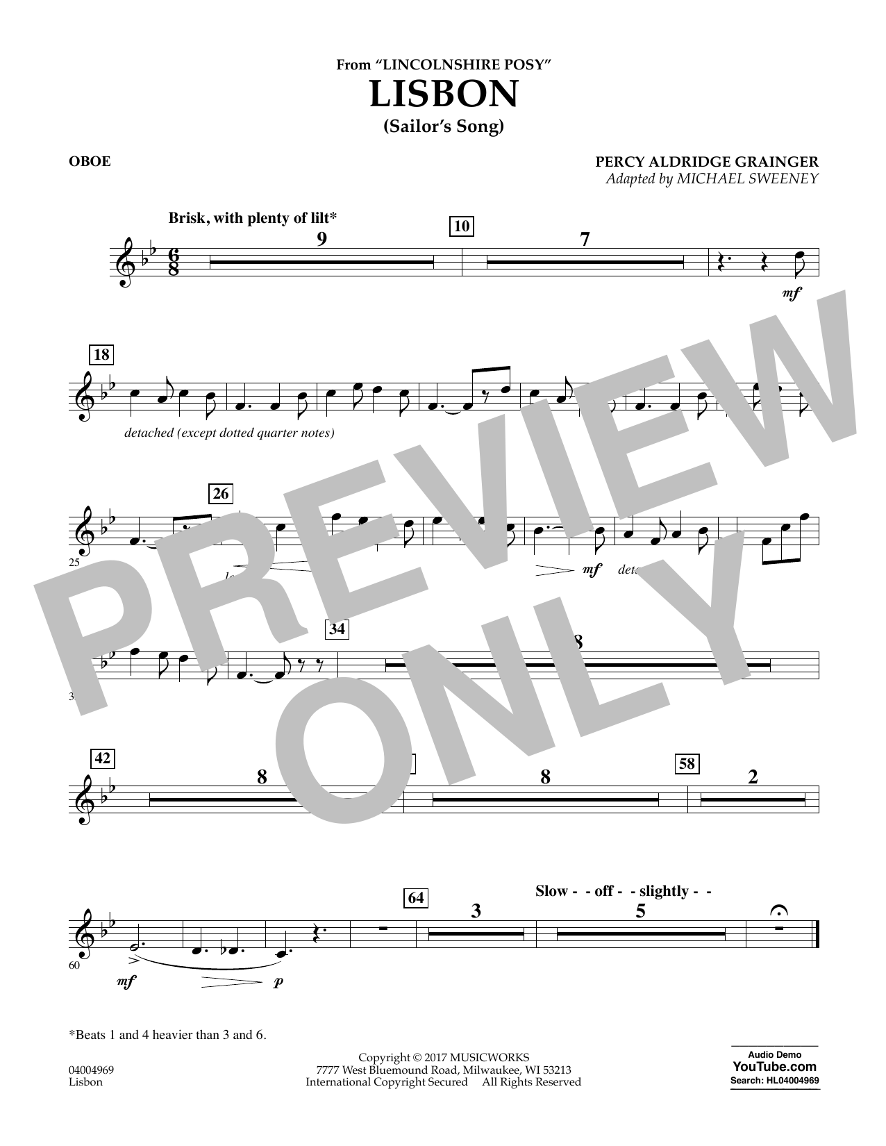 Michael Sweeney Lisbon (from Lincolnshire Posy) - Oboe sheet music notes and chords. Download Printable PDF.