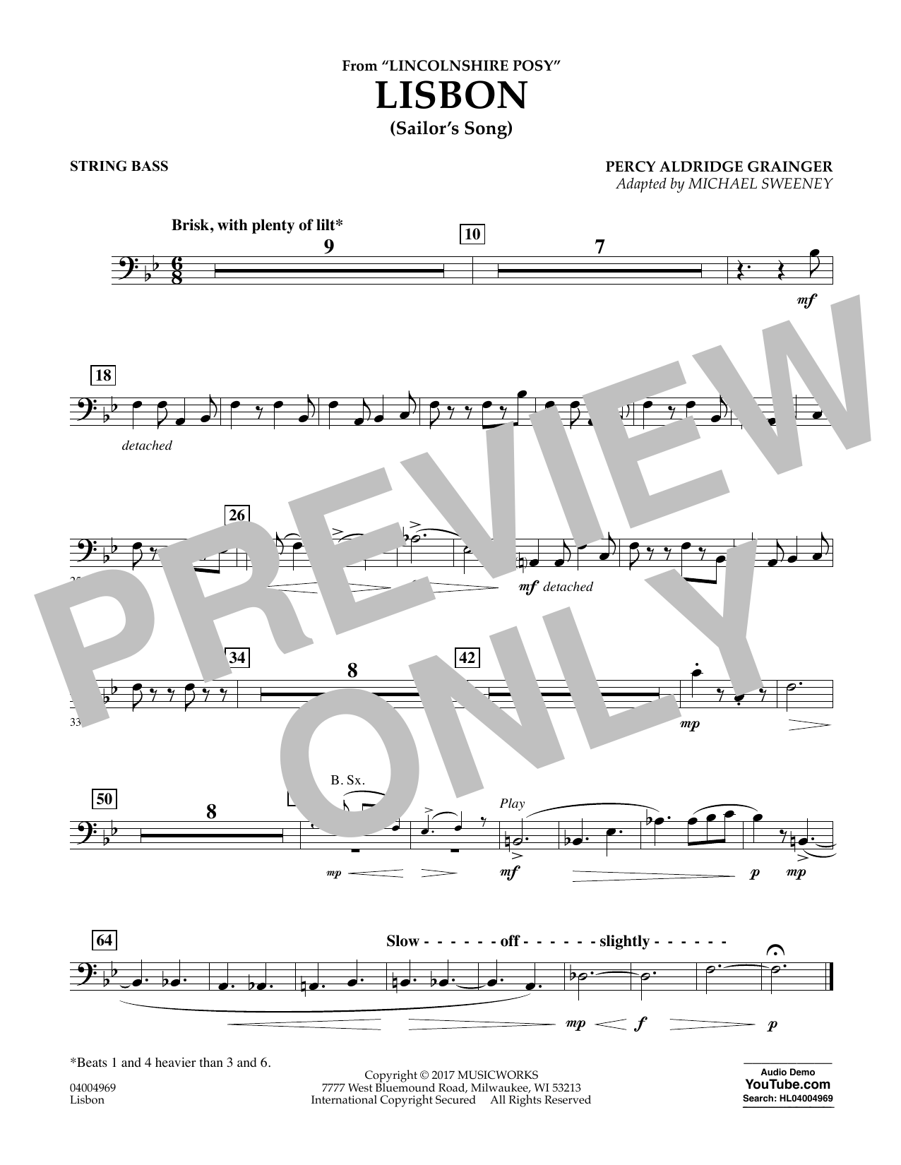 Michael Sweeney Lisbon (from Lincolnshire Posy) - String Bass sheet music notes and chords. Download Printable PDF.