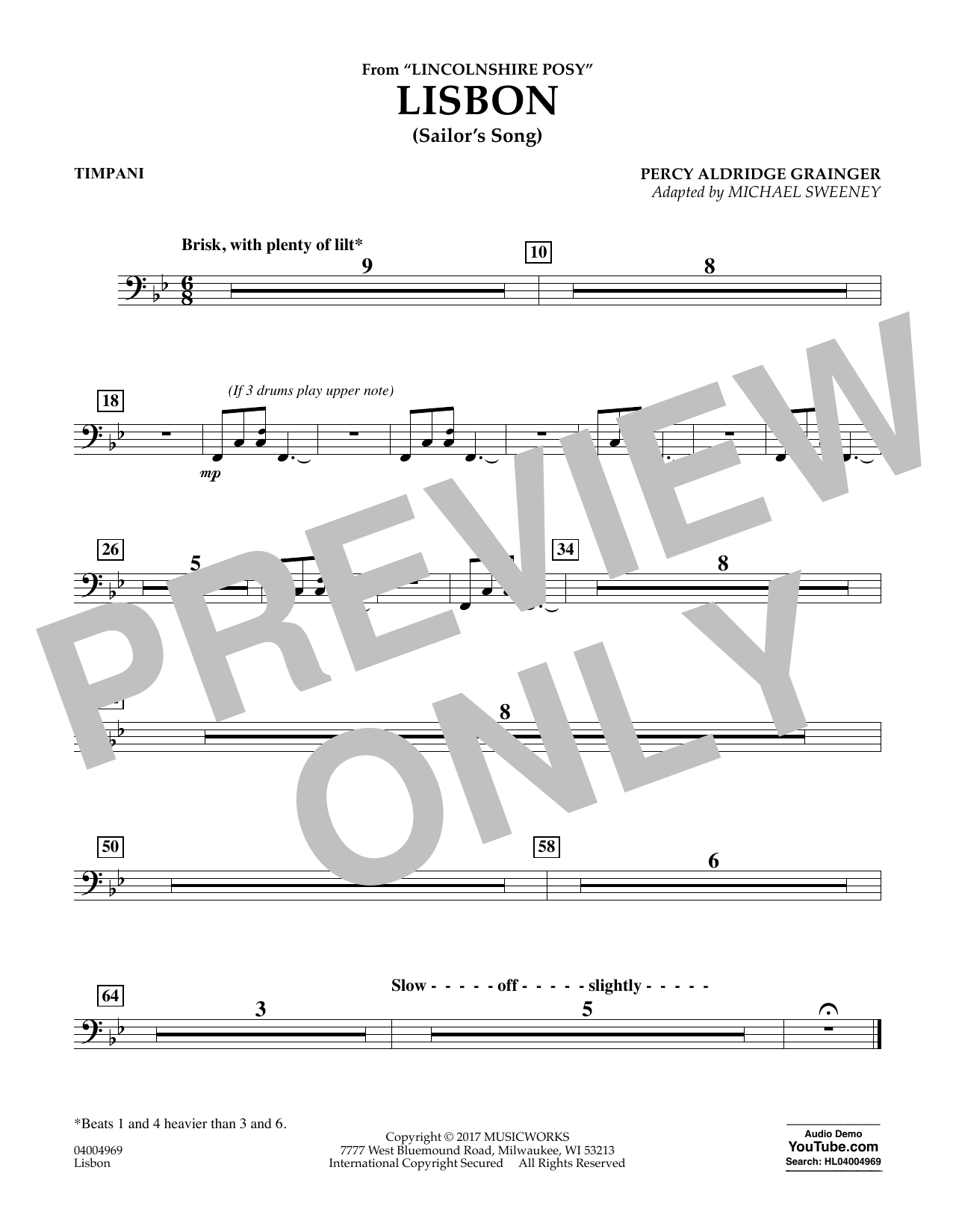 Michael Sweeney Lisbon (from Lincolnshire Posy) - Timpani sheet music notes and chords. Download Printable PDF.