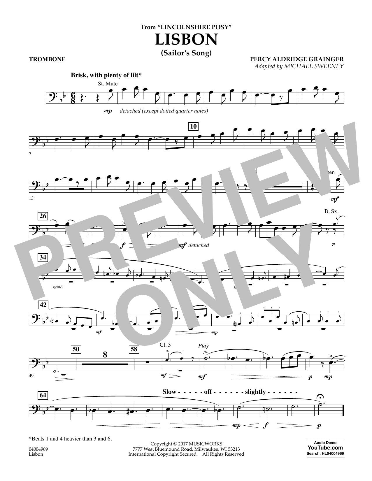 Michael Sweeney Lisbon (from Lincolnshire Posy) - Trombone sheet music notes and chords. Download Printable PDF.