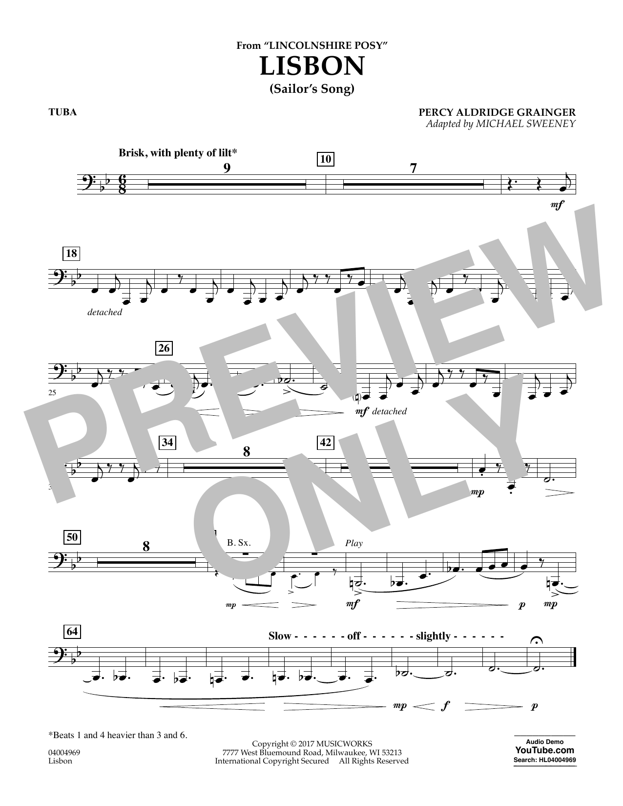 Michael Sweeney Lisbon (from Lincolnshire Posy) - Tuba sheet music notes and chords. Download Printable PDF.