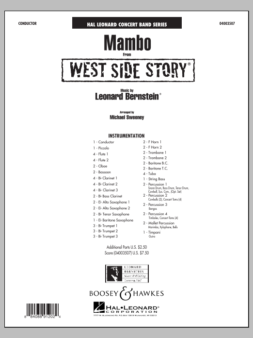 Michael Sweeney Mambo (from West Side Story) - Conductor Score (Full Score) sheet music notes and chords. Download Printable PDF.