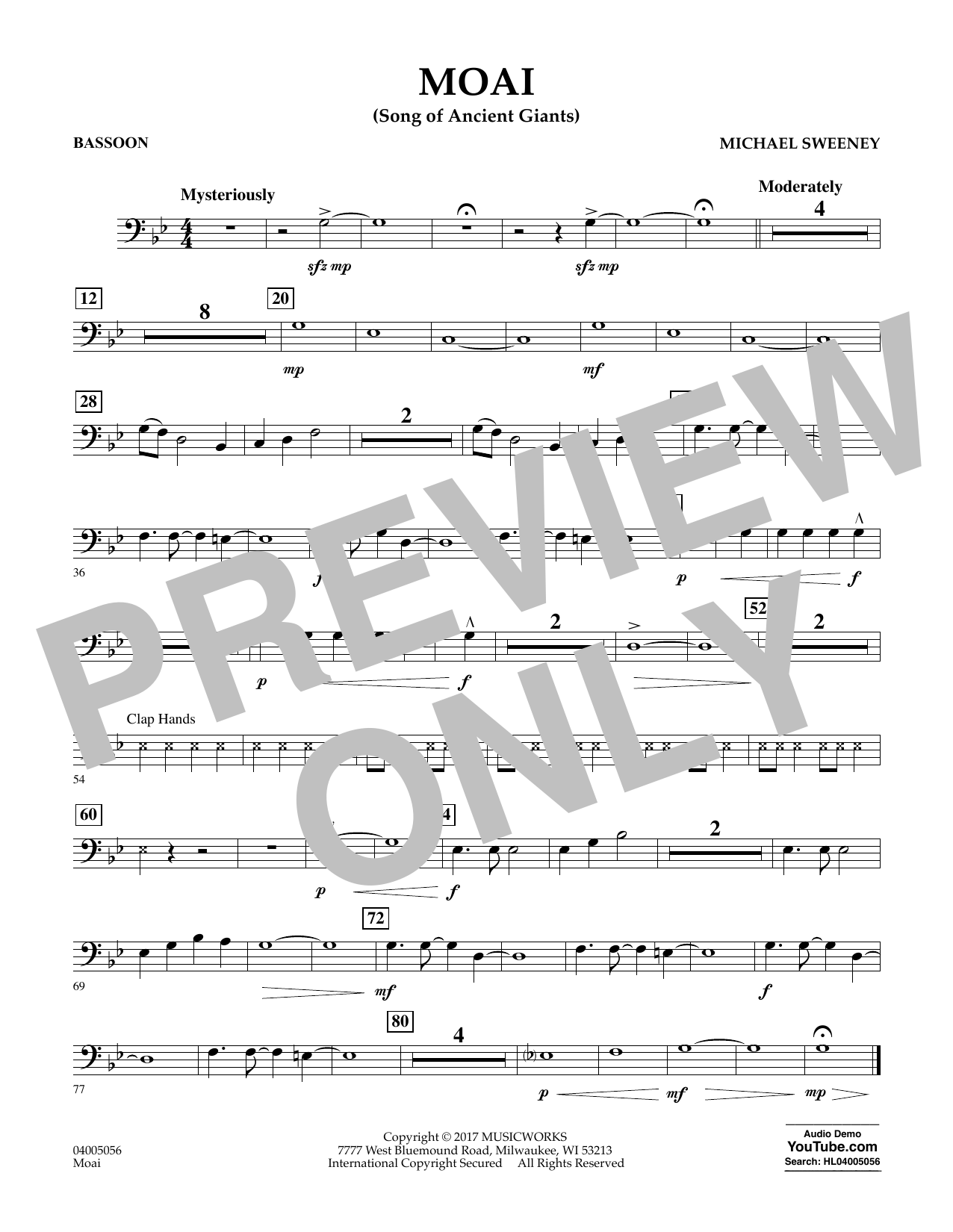 Michael Sweeney Moai (Songs of Ancient Giants) - Bassoon sheet music notes and chords. Download Printable PDF.