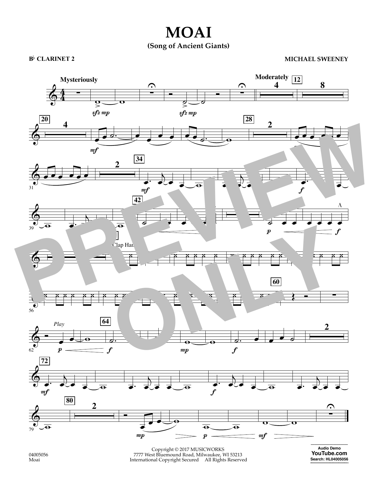 Michael Sweeney Moai (Songs of Ancient Giants) - Bb Clarinet 2 sheet music notes and chords. Download Printable PDF.
