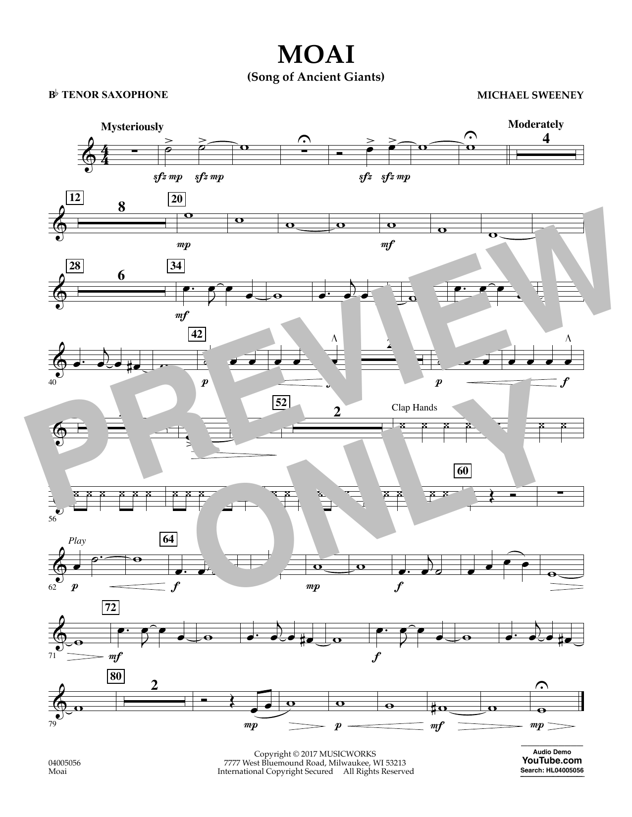 Michael Sweeney Moai (Songs of Ancient Giants) - Bb Tenor Saxophone sheet music notes and chords. Download Printable PDF.
