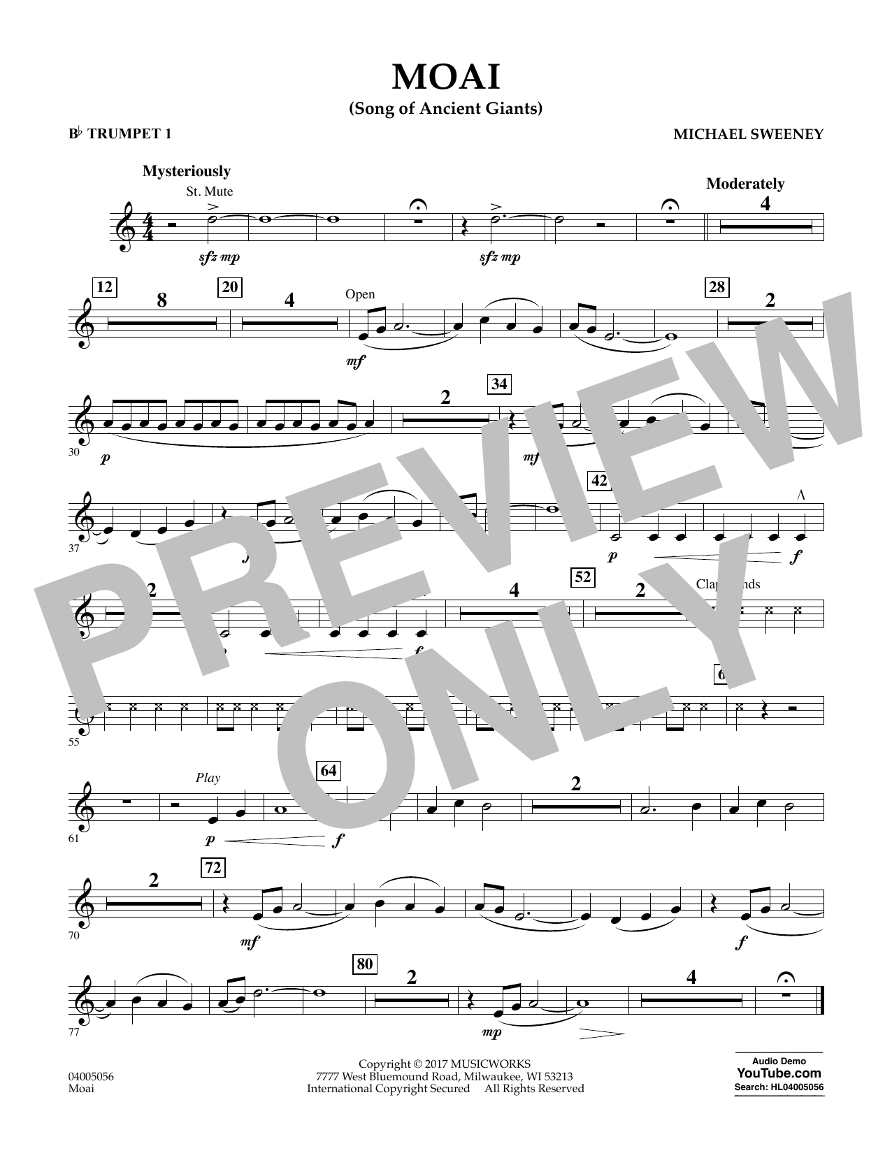 Michael Sweeney Moai (Songs of Ancient Giants) - Bb Trumpet 1 sheet music notes and chords. Download Printable PDF.