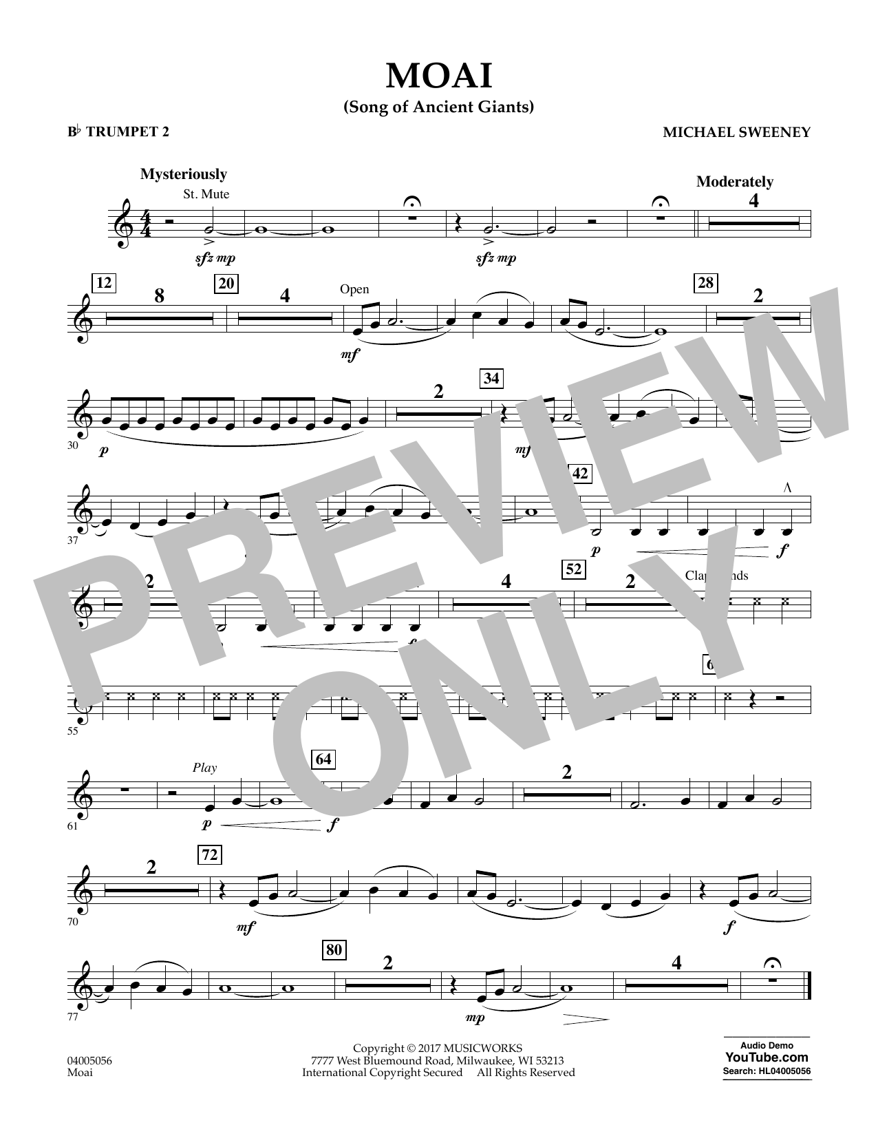 Michael Sweeney Moai (Songs of Ancient Giants) - Bb Trumpet 2 sheet music notes and chords. Download Printable PDF.