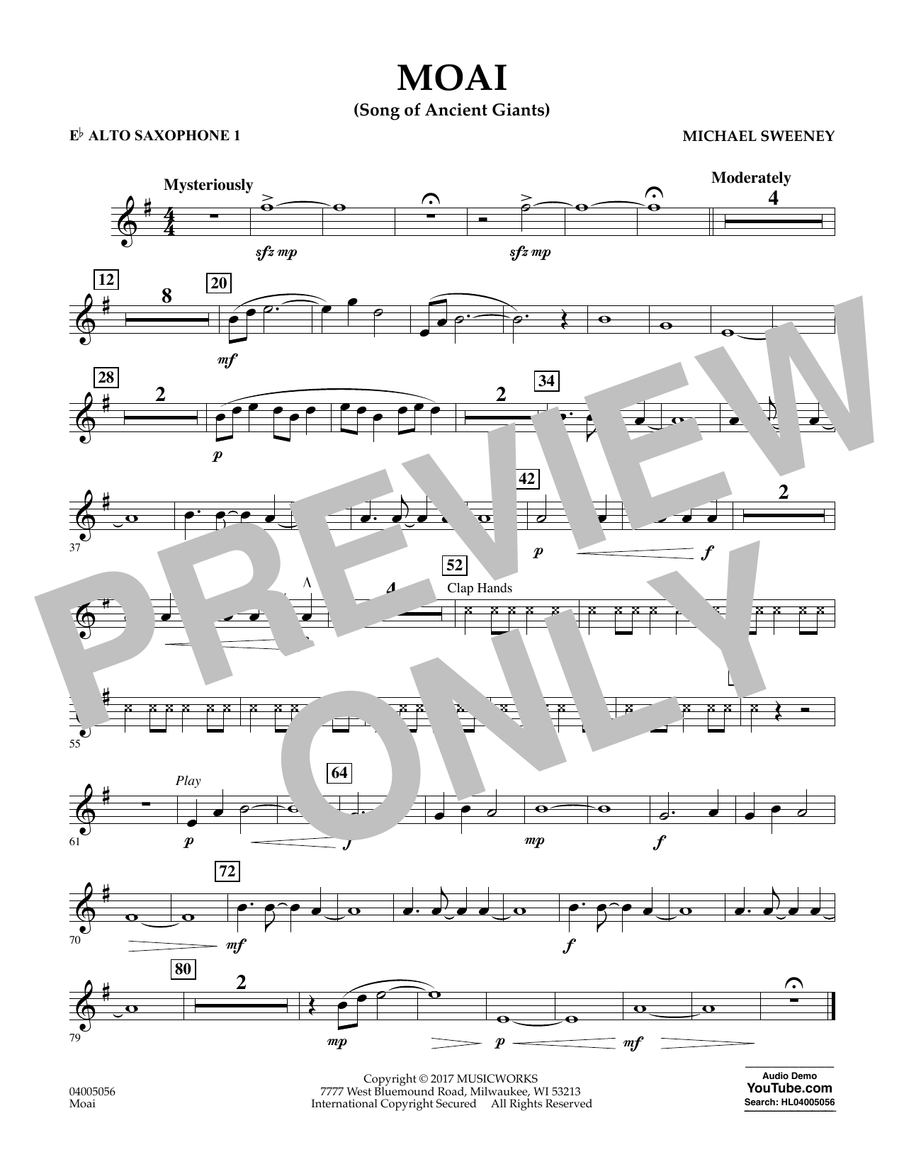 Michael Sweeney Moai (Songs of Ancient Giants) - Eb Alto Saxophone 1 sheet music notes and chords. Download Printable PDF.