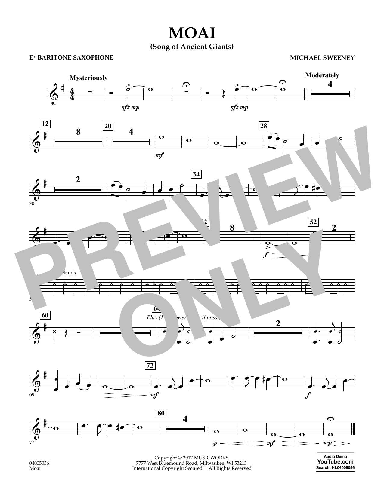 Michael Sweeney Moai (Songs of Ancient Giants) - Eb Baritone Saxophone sheet music notes and chords. Download Printable PDF.