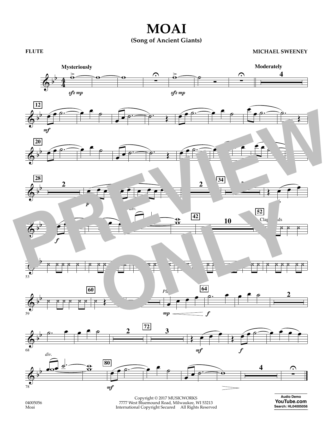 Michael Sweeney Moai (Songs of Ancient Giants) - Flute sheet music notes and chords. Download Printable PDF.