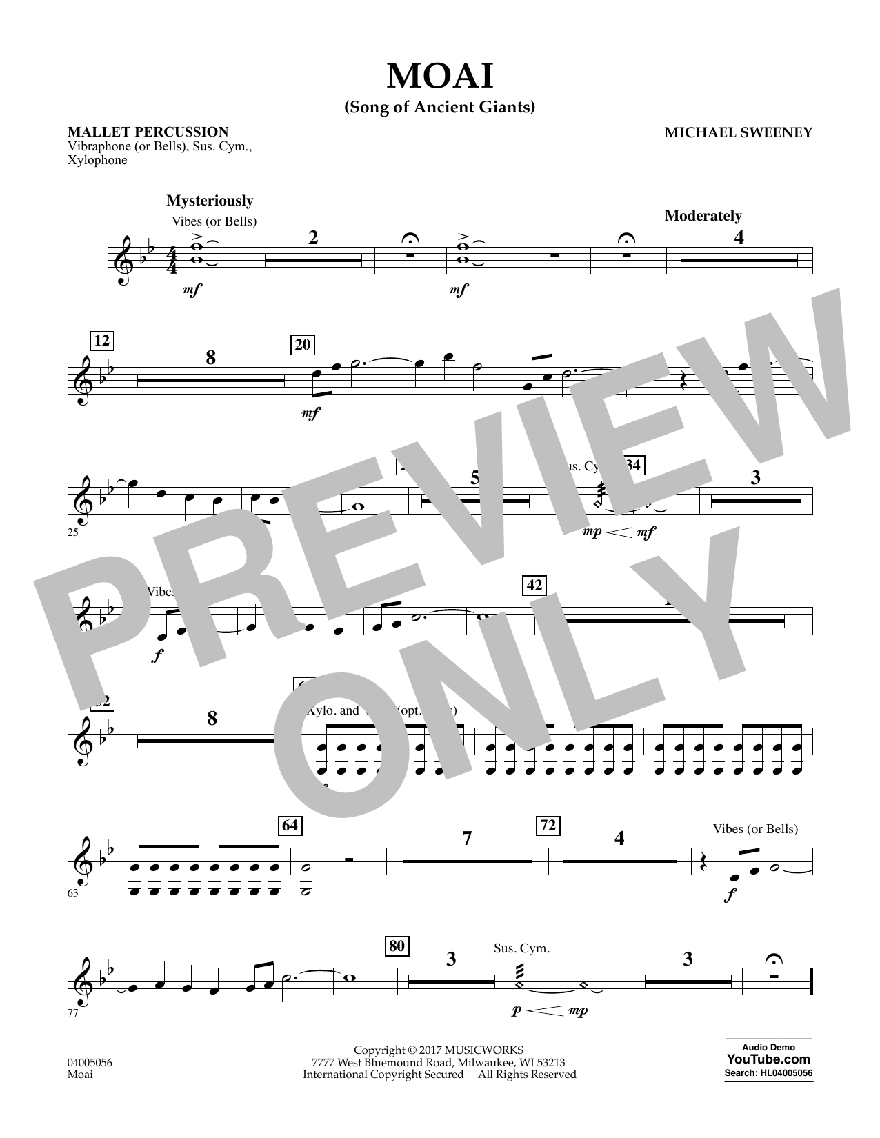 Michael Sweeney Moai (Songs of Ancient Giants) - Mallet Percussion sheet music notes and chords. Download Printable PDF.