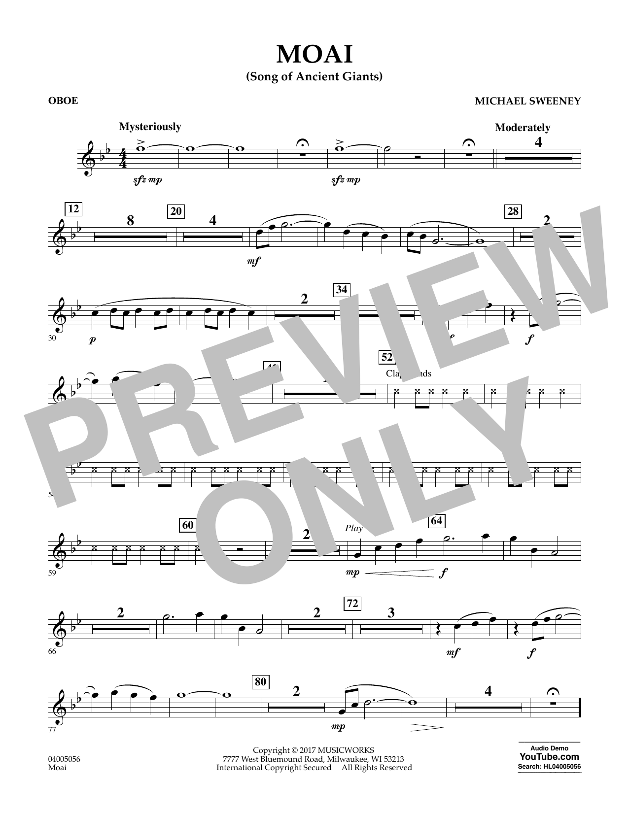 Michael Sweeney Moai (Songs of Ancient Giants) - Oboe sheet music notes and chords. Download Printable PDF.