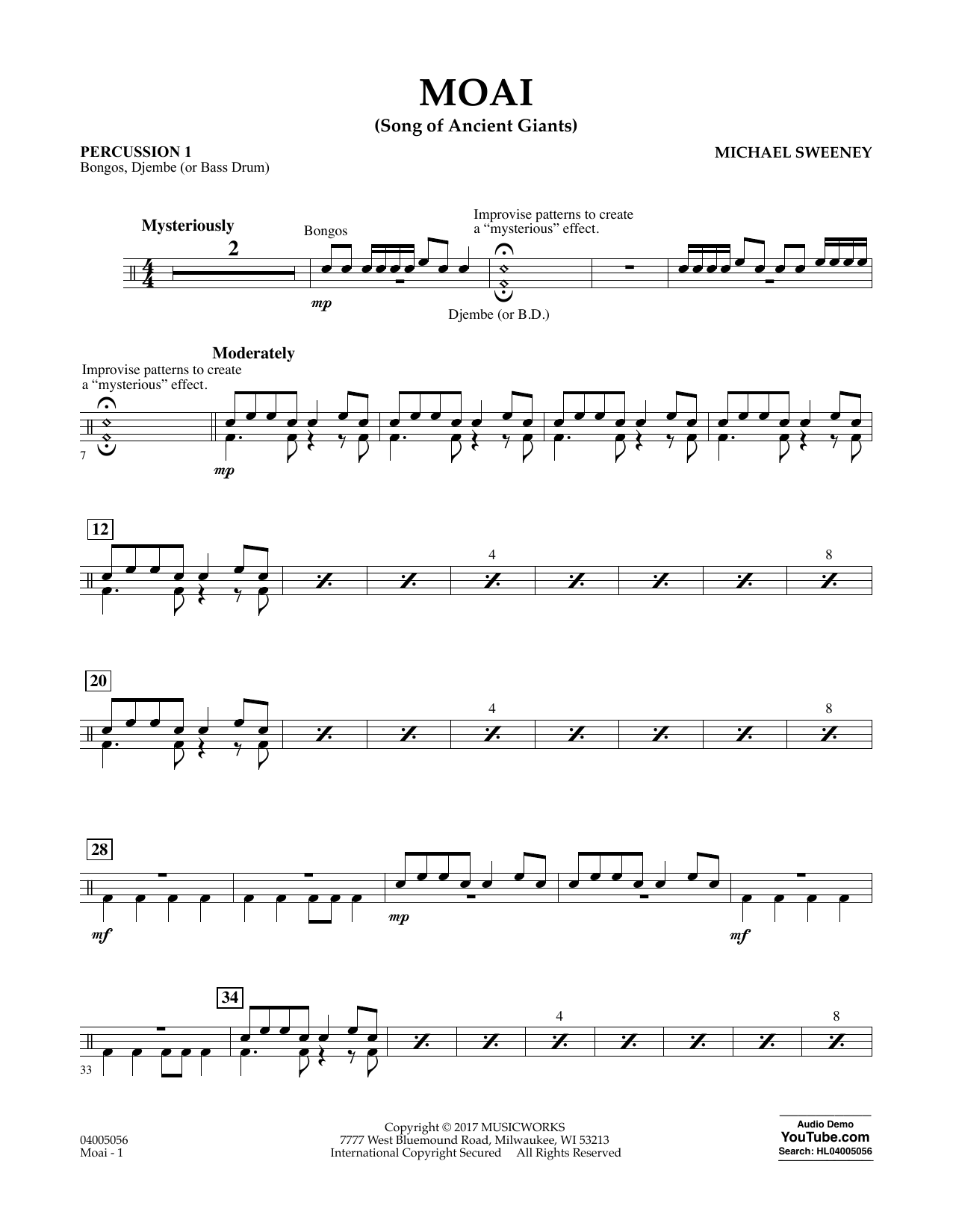 Michael Sweeney Moai (Songs of Ancient Giants) - Percussion 1 sheet music notes and chords. Download Printable PDF.